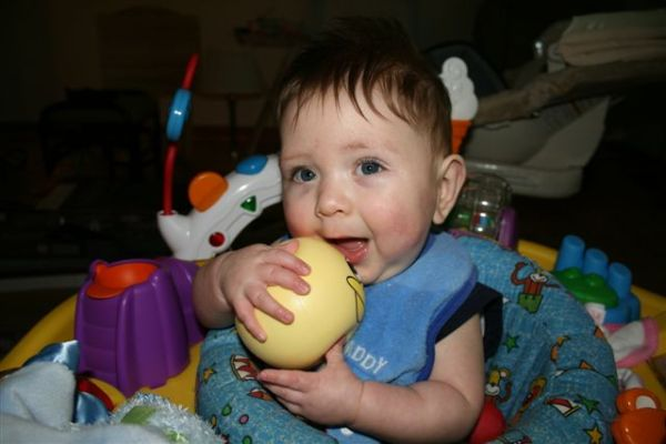 Alex loves his new Kindermusik Ball!